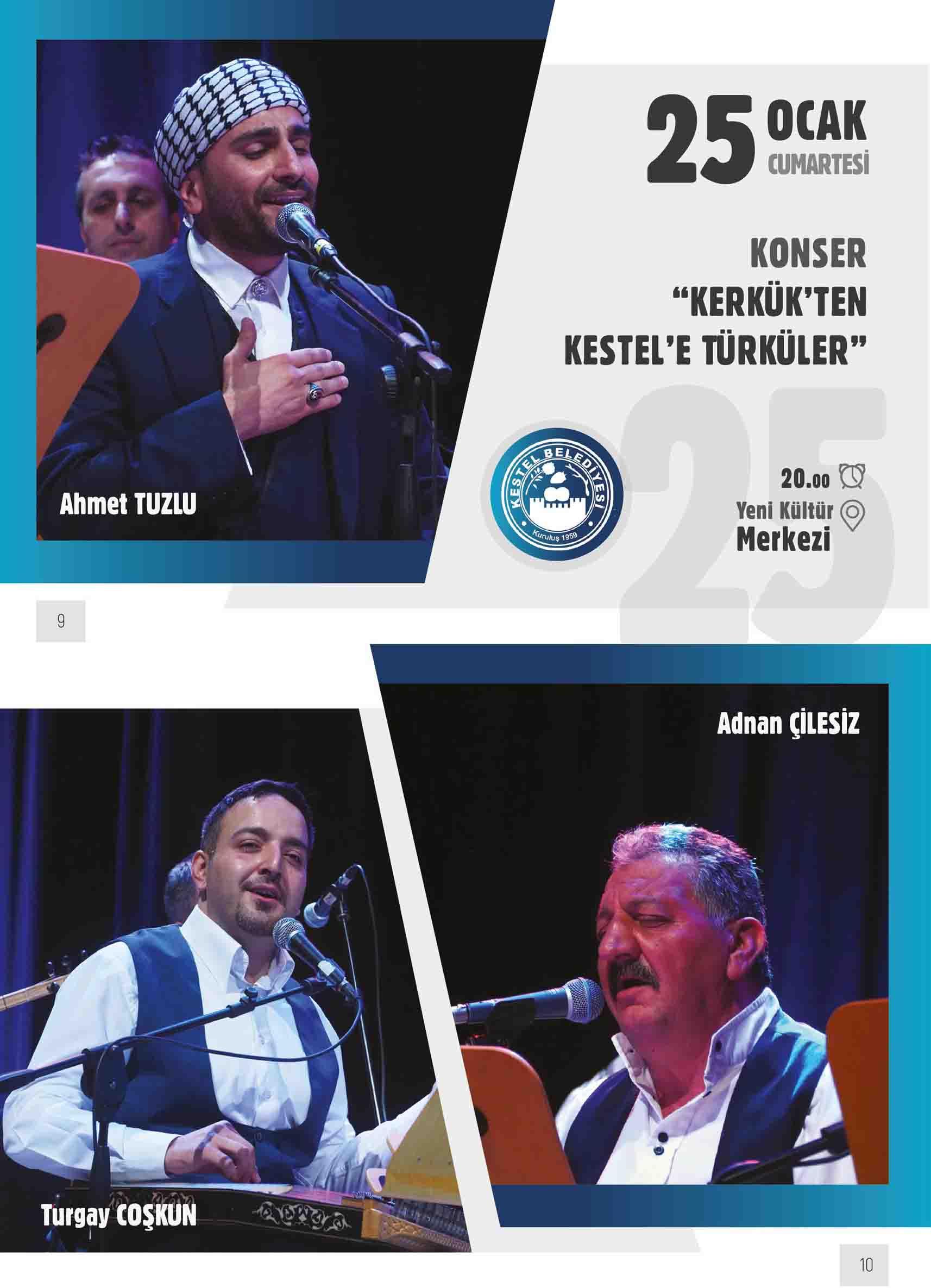 """KONSER  """"KERKÜK'TEN KESTEL'E TÜRKÜLER"""